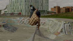 Skateboard Backflip with Ramped Slow-Motion - stock footage