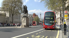 No 12 London double decker bus on Whitehall, London, UK. - stock footage
