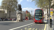 Stock Video Footage of No 12 London double decker bus on Whitehall, London, UK.