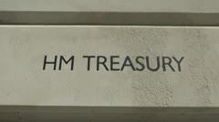 The HM Treasury logo, London UK. Stock Footage