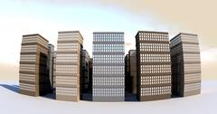 building and skyscapers front wide angle - stock illustration