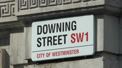 Street sign for Downing Street, London, UK. Stock Footage