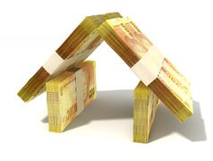 stacks of two hundred rand bank notes assembled in the shape of a house on an - stock illustration