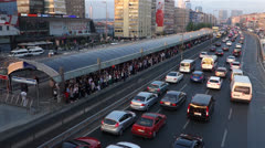 Metrobus Station in Istanbul Turkey (Editorial) Stock Footage