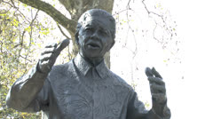 Statue of Nelson Mandela in Parliament Square, London. Stock Footage