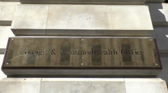 The Foreign & Commonwealth Office sign, London, UK. Stock Footage