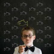 education needs you thinking boy dressed as business man with independent thi - stock photo
