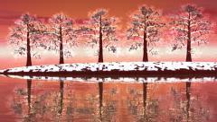 Winter trees landscape - 3D render Stock Footage