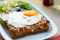Traditional french toasted sandwich Stock Photos