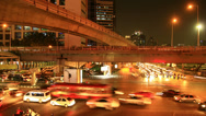 Stock Video Footage of Traffic in city at night, timelapse