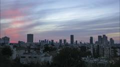 Tel Aviv City skyline time lapse orange sunset into night Stock Footage