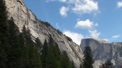 View of the mountains and glacier from Yosemite Valley NP, California - stock footage