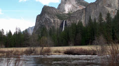 Merced River & Bridalveil Fall in Yosemite NP, California Stock Footage