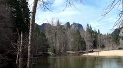 A View at Merced River in Yosemite NP, California (Spring) - stock footage
