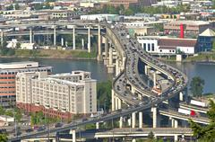 rush hour traffic portland or. - stock photo