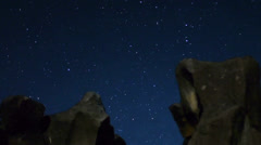Astro Time Lapse with Volcanic Formation Pan (Fossil Falls) Stock Footage