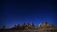 Stock Video Footage of Astro Time Lapse with Hoodoos and Star Trail (Trona Pinnacles)
