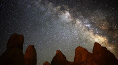 Astro Time Lapse with Trona Pinnacles Hoodoos and Milky Way -Zoom Out- Stock Footage