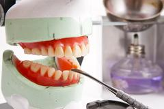 dental lab articulator and equipments for denture - stock photo