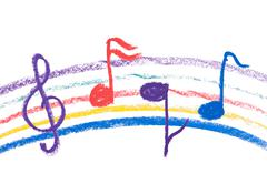 Colorful music notation drawing on white Stock Photos