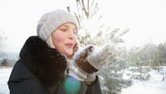 Blowing snow flakes - stock footage