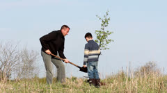 Father and son planting a tree. Stock Footage