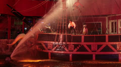 Pirate show ship sinks Treasure Island Las Vegas pt 1 HD 6589 Stock Footage