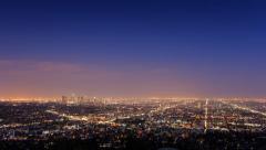 Los Angeles skyline, dusk to night. Stock Footage