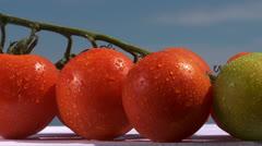 Fresh tomatoes, spritz Stock Footage