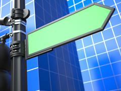 Blank Arrow Raodsign on Blue Background. Stock Illustration