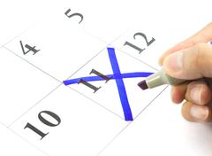 Blue color. mark on the calendar at 11 Stock Photos