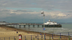 Sea, Gulls and Eastbourne Pier 29 fps.mp4 Stock Footage