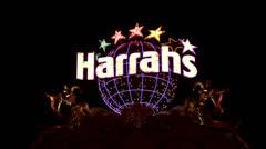 Las Vegas Harrahs Hotel Resort Casino globe star neon HD 6602 Stock Footage