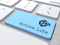 Lifestyle Concept - The Blue Active Life Button. - stock illustration