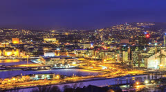 Dawn over Oslo, Norway Stock Footage