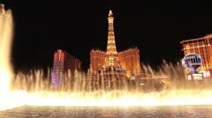 Las Vegas Strip Bellagio water fountain dance across lake HD 1191 Stock Footage
