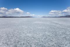 Frozen lake laberge yukon territory canada Stock Photos