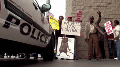 Las Vegas Cab Drivers Strike Protest in the streets Stock Footage