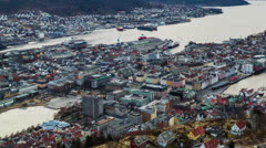 Sunset over the fjords. Bergen, Norway - stock footage