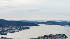 Sunset over the fjords. Bergen, Norway Stock Footage