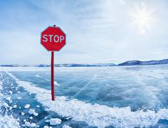 stop traffic sign on baikal - stock photo