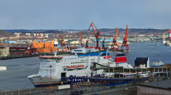 Loading the ferry at sunset. Gothenburg, Sweden Stock Footage