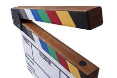 color clapperboard - stock photo
