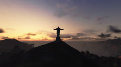 Christ the Redemeer at Sunrise, Rio de Janeiro Stock Footage