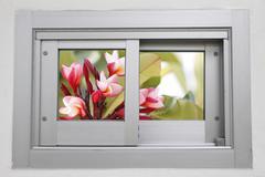 Aluminum sliding doors. Stock Photos