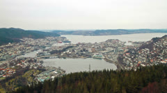 View from the cabin funicular. Bergen, Norway Stock Footage