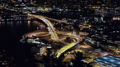 A view of the ring road. Night, Bergen, Norway Stock Footage
