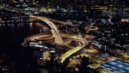 Stock Video Footage of A view of the ring road. Night, Bergen, Norway