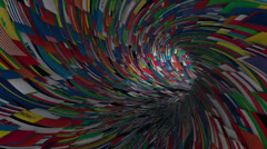 World flags tunnel fly through, light bloom Stock Footage