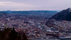 Sunset over the city. Bergen, Norway Stock Footage